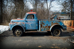 Vintage tow truck. In a parking lot Stock Image