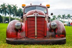 Vintage Tow Truck Automobile. Miami, FL USA - March 12, 2017: Close up view of the front end of a beautifully restored vintage 1947 International tow truck Royalty Free Stock Photography