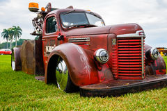 Vintage Tow Truck Automobile. Miami, FL USA - March 12, 2017: Close up view of the front end of a beautifully restored vintage 1947 International tow truck Royalty Free Stock Photos
