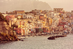 Vintage town in Italy at sunrise. Royalty Free Stock Photo