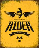 Vintage toxic rider in gas mask vector logo  on yellow background. Royalty Free Stock Photo
