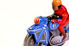 Vintage toy. Close up of a old motorcycle metal toy Stock Image