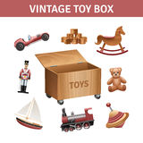 Vintage Toy Box Set Royalty Free Stock Photography