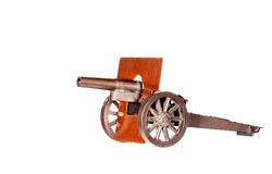 Vintage Toy Cannon. All-metal vintage toy cannon, white isolation Stock Photo