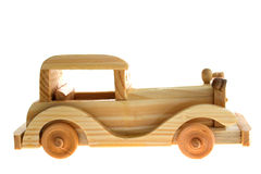 Vintage toy  car. Wooden to car over white Royalty Free Stock Photography