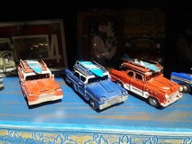 Station wagon toy cars on display Royalty Free Stock Image