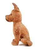Vintage toy dog. Stuffed with straw, side view, isolated on white background Stock Images