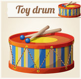 Vintage toy drum 2. Cartoon vector illustration Royalty Free Stock Photos