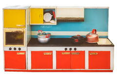 Vintage toy kitchen isolated on white Stock Images