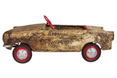 Vintage toy pedal car isolated on white Stock Photo