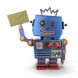 Vintage toy robot with envelope. Happy vintage toy robot holding an envelope over white background vector illustration