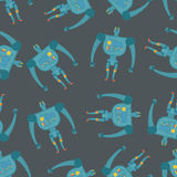 Vintage toy Robots seamless pattern. Background of cyborgs Stock Photo