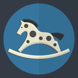 Vintage toy rocking horse icon. Royalty Free Stock Photography