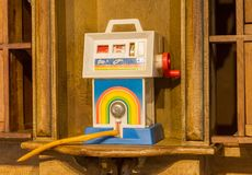 Vintage toy from the 80s. Small oil pump royalty free stock image