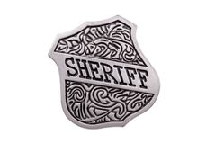 Vintage toy sheriffs badge. Over white with a clipping path stock photo