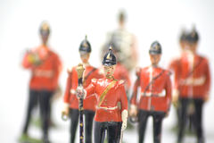 Vintage toy soldier band. Lead toy soldiers band selective focus on the band leader blurring band behind Stock Images