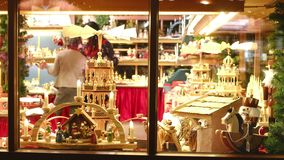 Vintage Toy Store Window Shop Christmas Market Background Stock Video