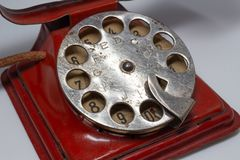 Vintage toy telephone from the 1940s stock photo