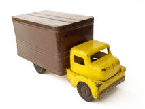 Vintage Toy Truck. Vintage metal toy box truck on white background Royalty Free Stock Image