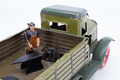 Vintage toy truck from the 1930s stock photography