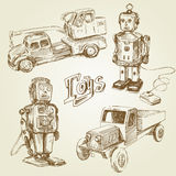 Vintage toys. Vintage, antique toys - hand drawn collection Royalty Free Stock Photo
