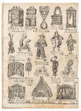 Vintage toys collection. Antique googs shop advertising Royalty Free Stock Photos