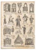 Vintage toys collection. Antique googs shop advertising. Page of original shopping catalog La Samaritaine, Paris, France, circa 1897 Royalty Free Stock Photos