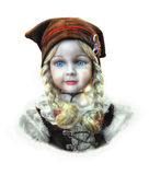 Vintage Toys Doll. Portrait of the vintage classic hand-painted ceramic doll royalty free stock photos