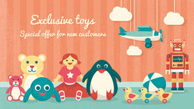 Vintage toys on the floor. Cute vintage toys on the floor and plane hanging, kids products sale banner Royalty Free Stock Image