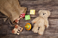 Vintage toys on wooden Stock Image