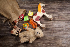 Vintage toys on wooden Royalty Free Stock Photo