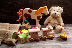 Vintage toys on wooden Royalty Free Stock Photos