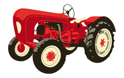 Vintage tractor. Vector illustration of a vintage red Porsche tractor an agricultural machinery isolated on white background Royalty Free Stock Photo