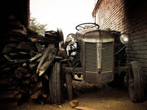 Vintage Tractor. An old abandoned tractor in farm country Stock Photos