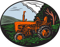 Vintage Tractor Farm Woodcut Royalty Free Stock Photo