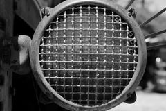 Vintage Tractor Headlight. Black and white image of vintage tractor headlight Stock Photos