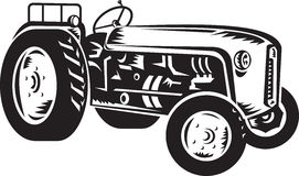 Vintage tractor retro woodcut Royalty Free Stock Images