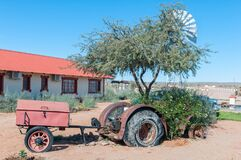 Vintage tractor and trailer on display at Canyon Roadhouse