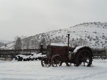 Vintage Tractor in Winter near McCall, Idaho Stock Photography