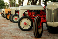 Vintage tractors. A row of vintage tractors that have been restored royalty free stock photos