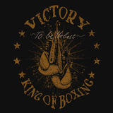 Vintage trademark with boxing gloves. Grunge effect.Typography design for t-shirts Royalty Free Stock Images