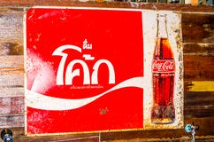 Vintage Trademark branding logo of Coca-cola in Thai language version. BANGKOK, THAILAND. – On March 26, 2018 - Vintage Trademark branding logo of Coca-cola Stock Images