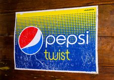 Vintage Trademark branding logo of Pepsi Twist was a lemon flavored cola. BANGKOK, THAILAND. – On March 26, 2018 - Vintage Trademark branding logo of Pepsi Royalty Free Stock Photos
