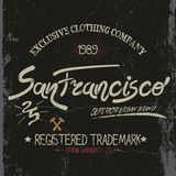 Vintage trademark with San Francisco City text. Grunge effect.Typography design for t-shirts Royalty Free Stock Image