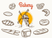 Vintage traditional bakery products sketch. Vintage traditional bakery products vector sketch. Wheat and rye bread and grain mill hand drawn illustration Royalty Free Stock Photos