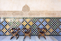 Vintage traditional chairs in the Court of the Myrtles, Alhambra Royalty Free Stock Photo