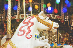 Vintage traditional French carousel horse in a park Stock Photography