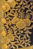 Vintage traditional japanese silk kimono Japan gold pattern on d Royalty Free Stock Photos