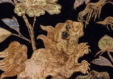 Vintage traditional japanese silk kimono Japan pattern on decora Royalty Free Stock Images