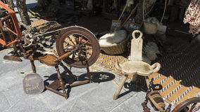 Vintage, traditional spinning wheel for wool yarn, craft ancient Royalty Free Stock Photos